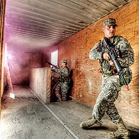 Combat exercises and training as part of Officer Candidate School at Fort Leonard Wood Army Base, Missouri.