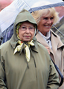 © Licensed to London News Pictures. 10/05/2013. Windsor, UK  Camilla, Duchess of Cornwall and HRH Queen Elizabeth II  watch horses in the show. The Royal Windsor Horse Show, set in the grounds of Windsor Castle. Established in 1943, this year will see the Show celebrate its 70th anniversary. Photo credit : Stephen Simpson/LNP