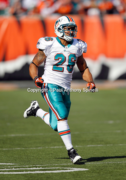 Miami Dolphins running back Rex Hilliard (26) runs down field on special teams during the NFL week 8 football game against the Cincinnati Bengals on Sunday, October 31, 2010 in Cincinnati, Ohio. The Dolphins won the game 22-14. (©Paul Anthony Spinelli)