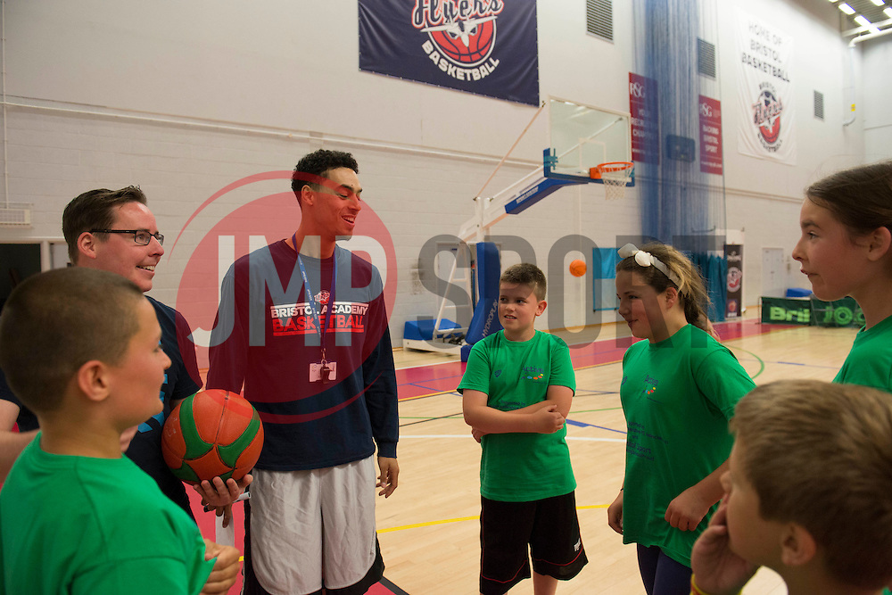 Children participate in Basketball during the Bristol Sport Youth Festival over seen by Bristol Flyers' Roy Owen - Photo mandatory by-line: Dougie Allward/JMP - Mobile: 07966 386802 - 06/06/2015 - SPORT - Multi-Sport - Bristol - SGS Wise Campus - Bristol Sport Festival Of Youth Sport - Festival Of Youth