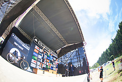 Jordan Sarrou takes first at the 2014 U23 men's XCO race during the UCI Mountainbike World Cup in Pietermaritzburg, South Africa. The podium is complemented by Michiel van der Heijden in second and Grant Ferguson in third.