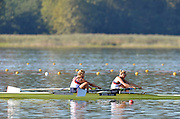 Varese,  ITALY. 2012 FISA European Championships, Lake Varese Regatta Course. ..Women's Pair, Repechage. GBR W2- Bow. Caragh MCMURTRY and Olivia CARNRGIE-BROWN, winning to go through to Sundays Final...09:35:27  Saturday  15/09/2012 .....[Mandatory Credit Peter Spurrier:  Intersport Images]  ..2012 European Rowing Championships Rowing, European,  2012 010826.jpg.....