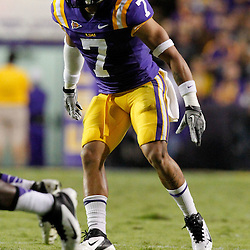 November 12, 2011; Baton Rouge, LA, USA;  LSU Tigers cornerback Tyrann Mathieu (7) during the second quarter of a game against the Western Kentucky Hilltoppers at Tiger Stadium.  Mandatory Credit: Derick E. Hingle-US PRESSWIRE