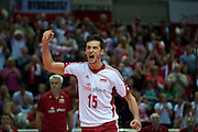 Lukasz Zygadlo from Poland celebrates winning point during the 2013 CEV VELUX Volleyball European Championship match between Poland and Turkey at Ergo Arena in Gdansk on September 20, 2013.<br /> <br /> Poland, Gdansk, September 20, 2013<br /> <br /> Picture also available in RAW (NEF) or TIFF format on special request.<br /> <br /> For editorial use only. Any commercial or promotional use requires permission.<br /> <br /> Mandatory credit:<br /> Photo by &copy; Adam Nurkiewicz / Mediasport