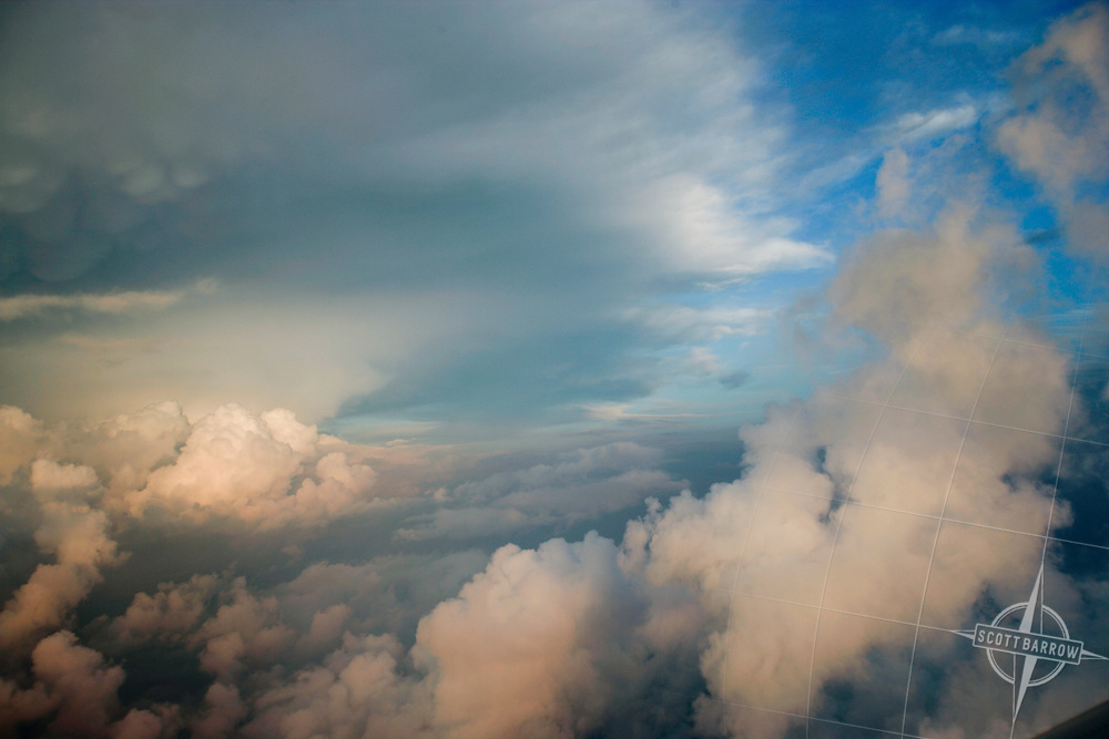 Cumulo nimbus and stratus clouds.