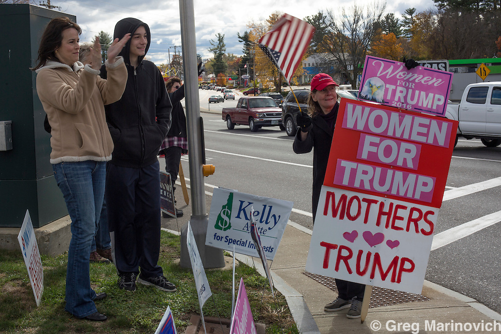 Pre-election activites in New Hampshire state, where the first primaries were held that eventually led to Hillary Clinton and Donald Trump facing off in a highy charged presidential campaign two days before the final ballots must be cast. Photo Greg Marinovich