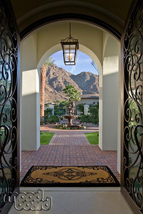 Entrance hall in elegant house door opened