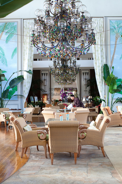 The Kahala Resort and Hotel, located in Honolulu on the souths side of Diamond Head, offers luxurious accommodations and is the only hotel in Oahu with a dolphin program. The impressive lobby where afternoon tea is served.