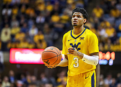 Dec 8, 2018; Morgantown, WV, USA; West Virginia Mountaineers guard James Bolden (3) shoots a foul shot during the second half against the Pittsburgh Panthers at WVU Coliseum. Mandatory Credit: Ben Queen-USA TODAY Sports