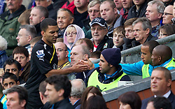 BLACKBURN, ENGLAND - Sunday, October 23, 2011: Tottenham's Aaron Lennon is being substituted and goes to the bench during the Premiership match against Blackburn Rovers at Ewood Park. (Pic by Vegard Grott/Propaganda)