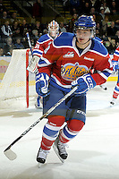 KELOWNA, CANADA - FEBRUARY 15:  Michael St. Croix #18 of the Edmonton OIl Kings skates on the ice against the Kelowna Rockets on February 15, 2012 at Prospera Place in Kelowna, British Columbia, Canada (Photo by Marissa Baecker/Getty Images) *** Local Caption *** Michael St. Croix;