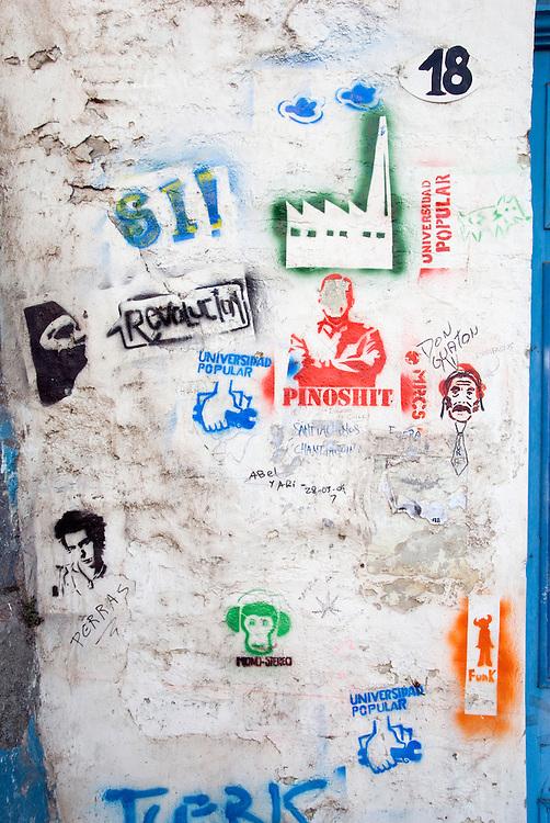 Graffiti on a building in Valparaiso, Chile.