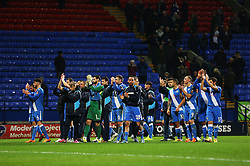 Eastleigh players applaud the travelling supporters - Mandatory byline: Matt McNulty/JMP - 19/01/2016 - FOOTBALL - Macron Stadium - Bolton, England - Bolton Wanderers v Eastleigh - FA Cup Third Round