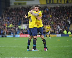 Liam Sercombe of Oxford United celebrates with Chris Maguire of Oxford United  - Mandatory byline: Alex James/JMP - 10/01/2016 - FOOTBALL - Kassam Stadium - Oxford, England - Oxford United v Swansea City - FA Cup Third Round