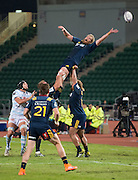 Highlanders player MARK REDDISH (Top) misses a line-out during the Natixis Cup rugby match between French team Racing 92 and New Zealand team Otago Highlanders at Sui San Wan Stadium in Hong Kong.