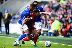 Tommy Rowe of Bristol City takes on Lee Peltier of Cardiff City - Mandatory by-line: Robbie Stephenson/JMP - 10/11/2019 -  FOOTBALL - Cardiff City Stadium - Cardiff, Wales -  Cardiff City v Bristol City - Sky Bet Championship