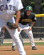 Baylor's Zach Dillon (R) takes a lead off first base against Kansas State in the eighth inning.  K-State defeated the Baylor Bears 3-1 at Tointon Stadium in Manhattan, Kansas, May 20, 2006.