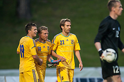 28.05.2012, Kufstein Arena, Kufstein, AUT, UEFA EURO 2012, Testspiel, Ukraine vs Estland, im Bild Torjubel nach dem 3 zu 0 durch Andriy Voronin, (UKR, # 10), Evgen Konoplyanka, (UKR, # 19), Marko Devic, (UKR, # 22) // Coalcelebration after the 3 to 0 from Andriy Voronin, (UKR, # 10), Evgen Konoplyanka, (UKR, # 19), Marko Devic, (UKR, # 22) during the Preparation Game for the UEFA Euro 2012 betweeen Ukraine and Estonia at the Kufstein Arena, Kufstein, Austria on 2012/05/28. EXPA Pictures © 2012, PhotoCredit: EXPA/ Juergen Feichter