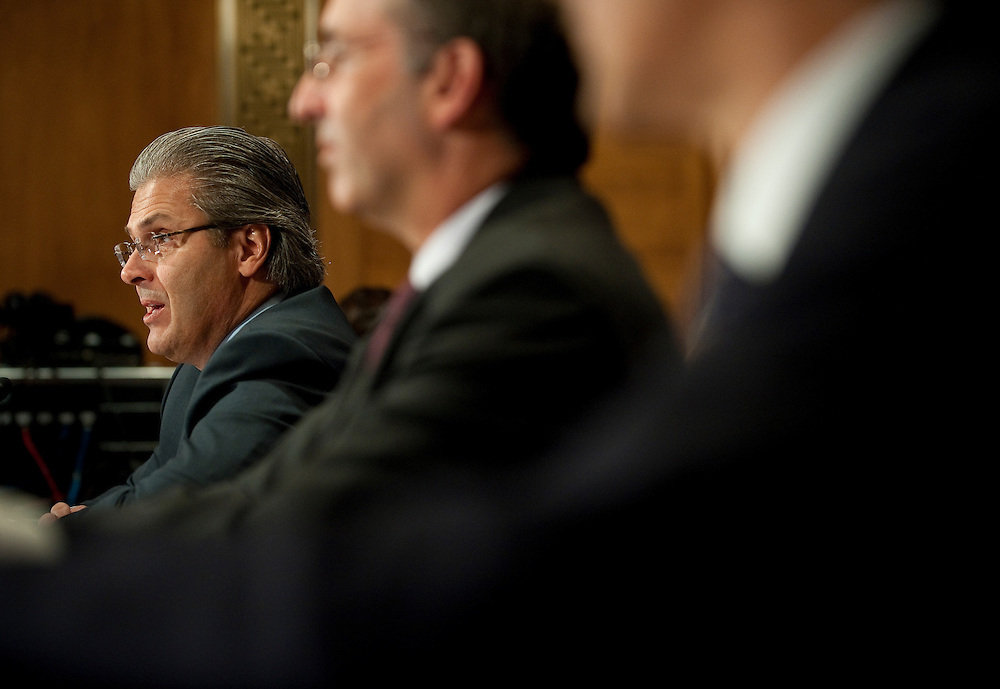 """May 5,2010 - Washington, District of Columbia USA - Former Bear Steans executive Samuel Molinaro Jr., former CFO and chief operating office appears before the Financial Crisis Inquiry Commission (FCIC) public hearing titled """"The Shadow Banking System"""" - the system of bank-like financial institutions and markets operating outside of the regulatory structure for traditional banking activities. ..The bi-partisan 10-member Financial Crisis Inquiry Commission was created by Congress and is charged with examining the causes of the financial meltdown. It is also examining causes of the collapse of major financial institutions that failed or would likely have failed had they not received exceptional government assistance...Findings and conclusions are to be presented in a formal report to Congress and the President by December 15, 2010. .(Credit Image: © Pete Marovich/ZUMA Press)"""
