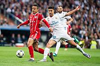Real Madrid Marco Asensio and Bayern Munich Thiago Alcantara during Semi Finals UEFA Champions League match between Real Madrid and Bayern Munich at Santiago Bernabeu Stadium in Madrid, Spain. May 01, 2018. (ALTERPHOTOS/Borja B.Hojas)