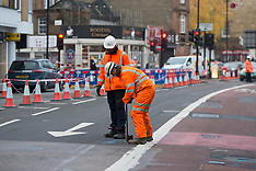 London: Clear up after London flood 12 Dec 2016