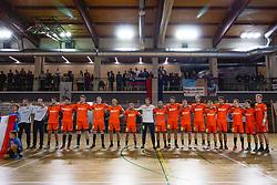 National team of Nederland during anthem ceremony before friendly handball match between Slovenia and Nederland, on October 25, 2019 in Športna dvorana Hardek, Ormož, Slovenia. Photo by Blaž Weindorfer / Sportida