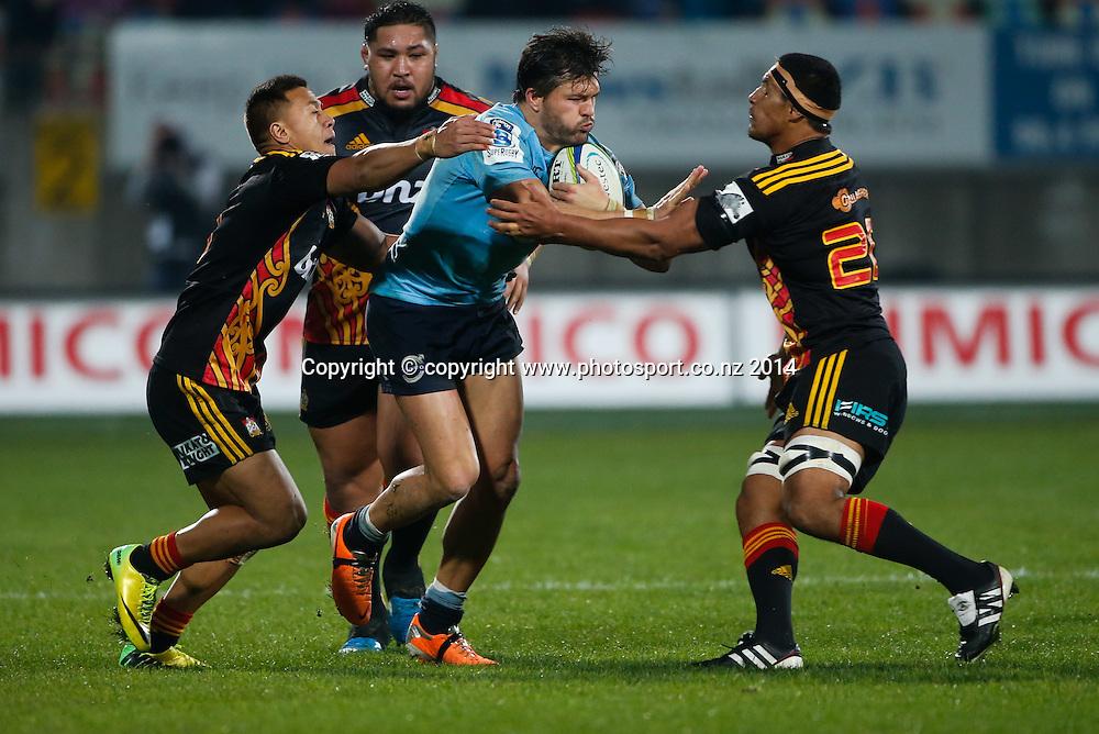 Waratahs Adam Ashley-Cooper is tackled. Super Rugby, Chiefs v Waratahs, Yarrow Stadium, New Plymouth, New Zealand. Saturday, 31 May, 2014. Photo: John Cowpland / photosport.co.nz
