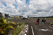 Our plane at the single parking spot on the tarmac at the Lahad Datu airport on Friday April 26th 2013 in Lahad Datu, Malaysia. (Photo by Brian Garfinkel)