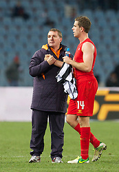 06.12.2012, Stadio Friuli, Udine, ITA, UEFA EL, Udinese Calcio vs FC Liverpool, Gruppe A, im Bild Liverpool's manager Brendan Rodgers and goal scorer Jordan Henderson after the 1-0 victory over Udinese Calcio during during the UEFA Europa League group A match between Udinese Calcio and Liverpool FC at the Stadio Friuli, Udinese, Italy on 2012/12/06. EXPA Pictures © 2012, PhotoCredit: EXPA/ Propagandaphoto/ David Rawcliffe..***** ATTENTION - OUT OF ENG, GBR, UK *****