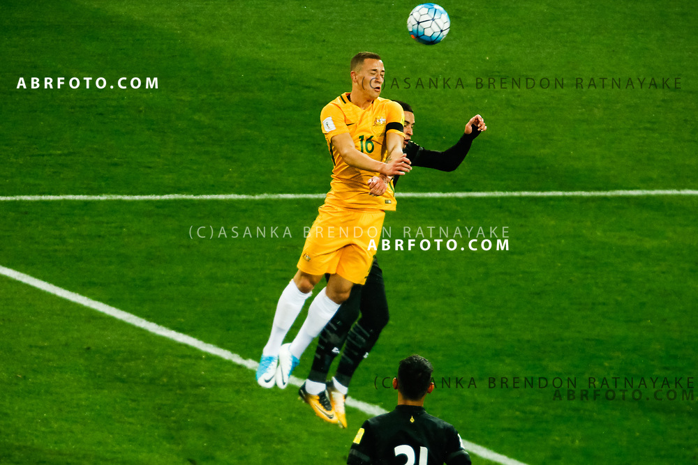 MELBOURNE, AUSTRALIA - SEPTEMBER 5 :  Alex Gersbach of the Australia Socceroos heads the ball away during the Stage 3 Group World Cup Football Qualifiers between Australia Vs Thailand at the Melbourne Rectangular Stadium, Melbourne, Australia 5 September 2017.