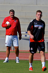Nicosia, Cyprus - Monday, October 15, 2007: Wales' manager John Toshack training at the New GSP Stadium in Nicosia following their 3-1 defeat by Cyprus during the Group D UEFA Euro 2008 Qualifying match. (Photo by David Rawcliffe/Propaganda)