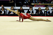 Victoria Nguyen of the United States of America (USA) on the Floor on her way to winning a Silver Medal during the iPro Sport World Cup of Gymnastics 2017 at the O2 Arena, London, United Kingdom on 8 April 2017. Photo by Martin Cole.