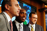 "Former New York Giants running back Tiki Barber speaks to members of the media with coo-host Matt Lauer(L) and NBC News President Steve Caqpus(R) as he is introduced as a news correspondent for NBC's ""The Today Show"" in New York, February 13, 2007. Barber will also be a sports analysts for NBC's ""Football Night in America""."