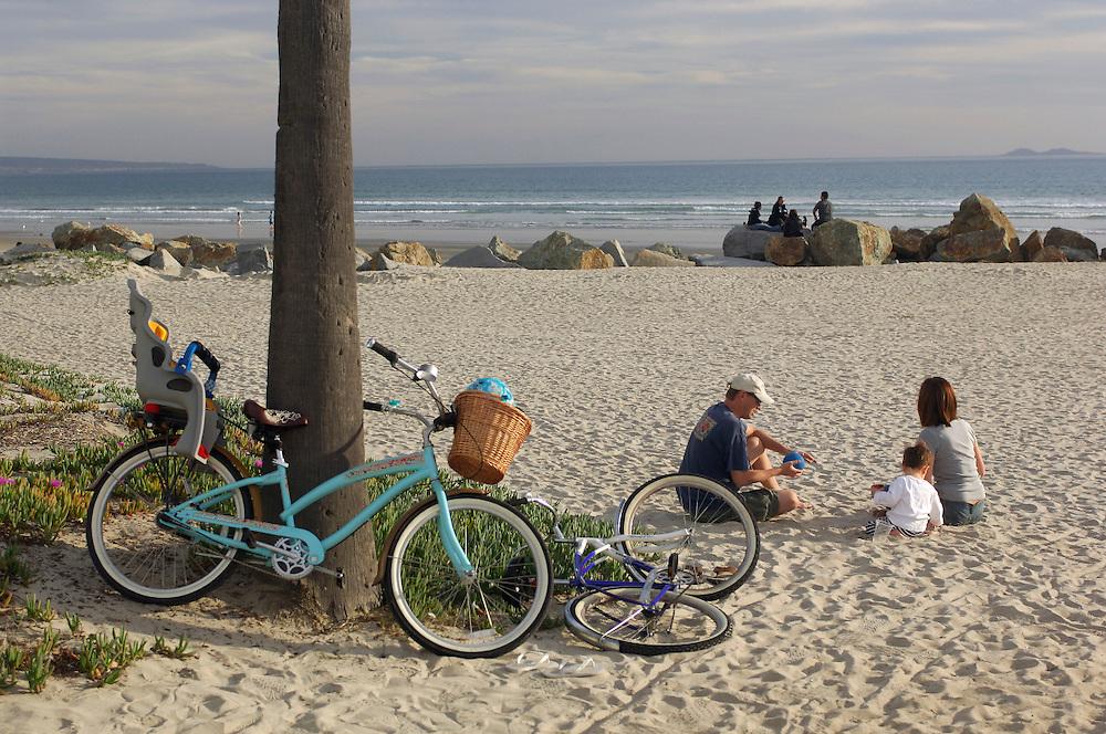 Family picnic under Palm Tree, Coronado Beach, San Diego, California, United States of America