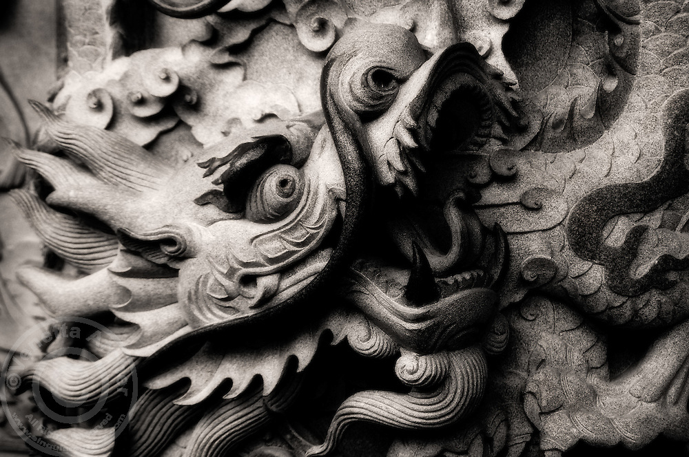 A fierce ethereal dragon protects Po Lin Monastery.