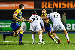 Willis Halaholo of Cardiff Blues is tackled by Jean-Marc Doussain of Toulouse and Jarrod Poi - Mandatory by-line: Craig Thomas/JMP - 14/01/2018 - RUGBY - BT Sport Cardiff Arms Park - Cardiff, Wales - Cardiff Blues v Toulouse - European Rugby Challenge Cup