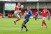 Walsall's Reece Flanagan & Bury's Chris Hussey during the Sky Bet League 1 match between Walsall and Bury at the Banks's Stadium, Walsall, England on 5 September 2015. Photo by Shane Healey.