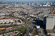 Nederland, Zuid-Holland, Rotterdam, 20-03-2009; Marconiplein met op het middenplan vlnr Spangen, het Nieuwe Westen, Middelland en begin van Nieuw Mathenesse met de hoogbouw van het Europointcomplex. De torens  huisvesten onder andere Gemeentewerken Rotterdam. Centrum met hoogbouw en skyline in het verschiet.  Air view of the skyline and the houses and high-rise buildings of the western part of Rotterdam..Swart collectie, luchtfoto (toeslag); Swart Collection, aerial photo (additional fee required).foto Siebe Swart / photo Siebe Swart