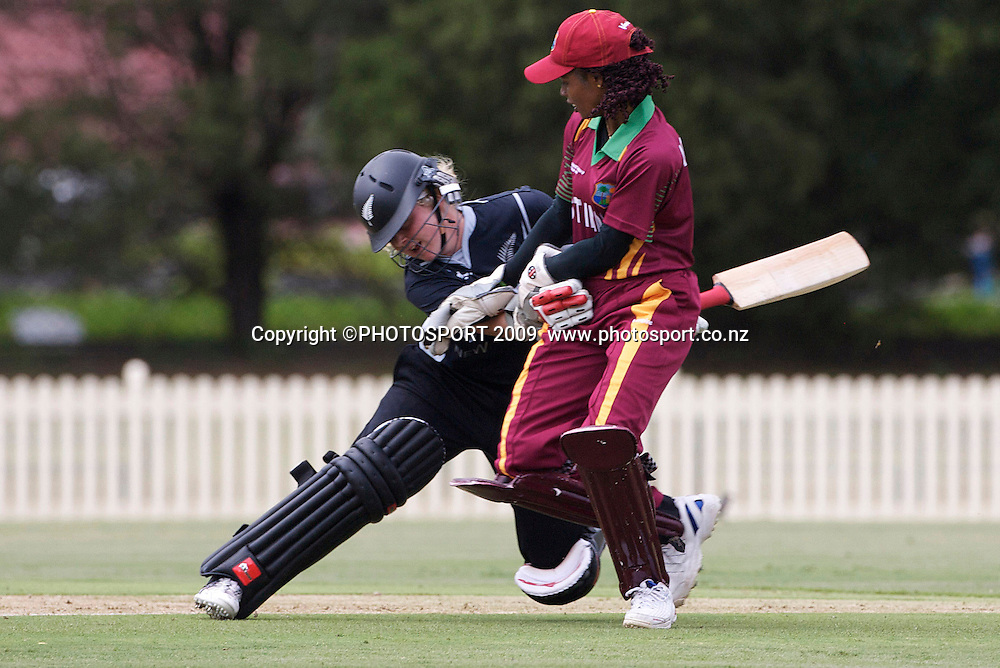 Sydney-March 10:  New Zealand batsperson Lucy Doolan is run out and collides with West Indies wicket keeper Merissa Aguilleira during the West Indies V New Zealand group A match at Bankstown Oval  in the ICC Women's World Cup Cricket Tournament, in Sydney, Australia on March 10, 2009. New Zealand made  192 for 7. Photo: PHOTOSPORT