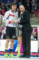 Germany's Florian Fuchs was voted player of the Championship. The Netherlands v Germany - Final Unibet EuroHockey Championships, Lee Valley Hockey & Tennis Centre, London, UK on 29 August 2015. Photo: Simon Parker
