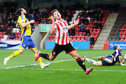 Billy Waters comes close during the Vanarama National League match between Cheltenham Town and Altrincham at Whaddon Road, Cheltenham, England on 19 December 2015. Photo by Carl Hewlett.