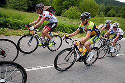 Jure Golcer (SLO) of Tirol Cycling Team, Tadej Valjavec (SLO) of Sava, Radoslav Rogina (CRO) of Adria Mobil and Jan Polanc (SLO) of Radenska during Stage 3 from Skofja Loka to Vrsic (170 km) of cycling race 20th Tour de Slovenie 2013,  on June 15, 2013 in Slovenia. (Photo By Vid Ponikvar / Sportida)