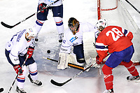 ICE HOCKEY - FRIENDLY GAME - FRANCE V NORWAY - LYON (FRA) - 11/11/2011 - PHOTO : EDDY LEMAISTRE / DPPI -  FABRICE LHENRY, KEVIN HECQUEFEUILLE (FRA) AND MATS FROSHAUG (NOR)