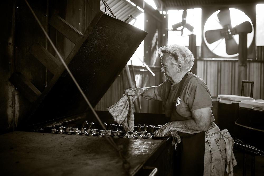 Snow's BBQ, Lexington, Texas. August 8,2015. Photograph ©2015 Darren Carroll Tootsie Tomanetz, pitmaster at Snow's BBQ, Lexington, Texas. August 8,2015. Photograph ©2015 Darren Carroll
