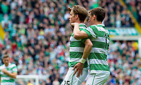24/05/15 SCOTTISH PREMIERSHIP<br /> CELTIC v INVERNESS CT<br /> CELTIC PARK - GLASGOW<br /> Celtic's Stefan Johansen (left) celebrates his goal with team-mate Stefan Scepovic
