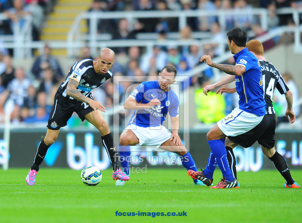 Scorer of the decisive goal Gabriel Obertan of Newcastle United (left) controls the ball during the Barclays Premier League match at St. James's Park, Newcastle<br /> Picture by Greg Kwasnik/Focus Images Ltd +44 7902 021456<br /> 18/10/2014