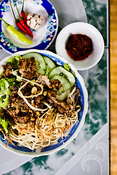 Bun thit nuong, a traditional vietnamese dish, Huyen Anh restaurant in Hue, Vietnam, Southeast Asia