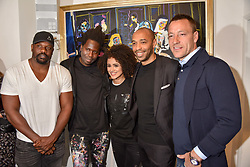 Left to right, Dereck Chisora, Bradley Theodore, Nathalie Emmanuel, Thierry Henry and John Terry at a private view of work by Bradley Theodore entitled 'The Second Coming' at the Maddox Gallery, 9 Maddox Street, London England. 19 April 2017.