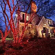 House on Ward Parkway in Kansas City, Missouri decorated and illuminated for Christmas.