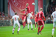 01.09.2017. Copenhagen, Denmark. <br /> Piotr Zielinski (18) fights for the ball with Andreas Cornelius(21) and William Kvist (7) during the FIFA 2018 World Cup Qualifier between Denmark and Poland at Parken Stadion.<br /> Photo: © Ricardo Ramirez.